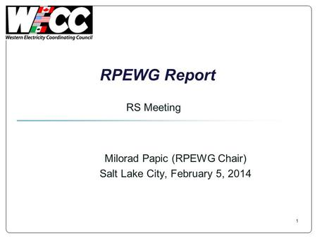 RPEWG Report Milorad Papic (RPEWG Chair) Salt Lake City, February 5, 2014 RS Meeting 1.