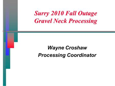 Surry 2010 Fall Outage Gravel Neck Processing Wayne Croshaw Processing Coordinator.