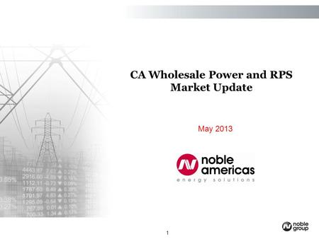 1 May 2013 CA Wholesale Power and RPS Market Update.