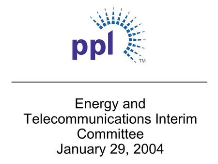 Energy and Telecommunications Interim Committee January 29, 2004.