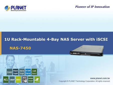 1U Rack-Mountable 4-Bay NAS Server with iSCSI NAS-7450.