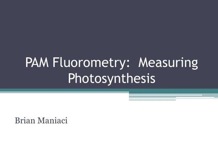 PAM Fluorometry: Measuring Photosynthesis Brian Maniaci.