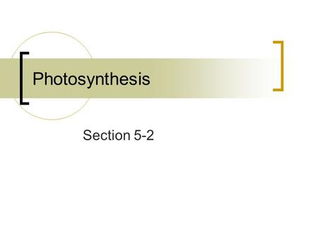 Photosynthesis Section 5-2.