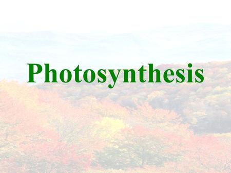 Photosynthesis. THE BIG PICTURE Scientists discovered that in the presence of light, plants transform CO 2 and water into carbohydrates and release oxygen.