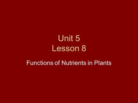 Unit 5 Lesson 8 Functions of Nutrients in Plants.