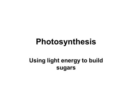 Photosynthesis Using light energy to build sugars.