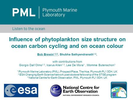 Influence of phytoplankton size structure on ocean carbon cycling and on ocean colour Bob Brewin 1,2,3, Shubha Sathyendranath 1,3, with contributions from.