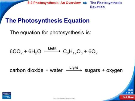 End Show Slide 1 of 28 8-2 Photosynthesis: An Overview Copyright Pearson Prentice Hall The Photosynthesis Equation The equation for photosynthesis is: