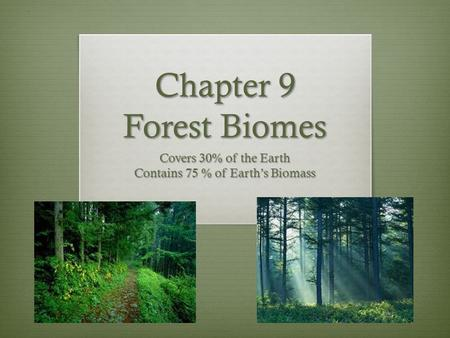 Chapter 9 Forest Biomes Covers 30% of the Earth Contains 75 % of Earth's Biomass.