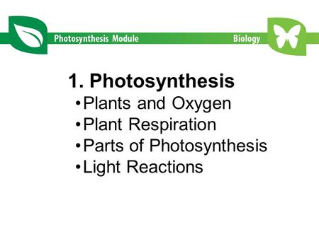 1. Photosynthesis Plants and Oxygen Plant Respiration Parts of Photosynthesis Light Reactions.