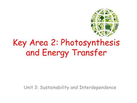 Key Area 2: Photosynthesis and Energy Transfer Unit 3: Sustainability and Interdependence.