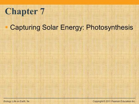 Copyright © 2011 Pearson Education Inc.Biology: Life on Earth, 9e Chapter 7  Capturing Solar Energy: Photosynthesis.