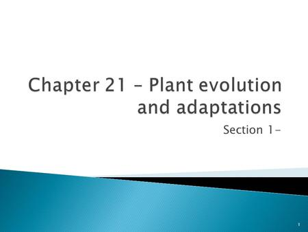 Section 1- 1. Plants are vital to our survival and provide oxygen for us to breathe and many of the foods that we eat. They make our lives comfortable.