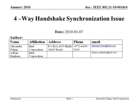Doc.: IEEE 802.11-10/0018r0 Submission January 2010 Alexander Tolpin, Intel CorporationSlide 1 4 –Way Handshake Synchronization Issue Date: 2010-01-07.