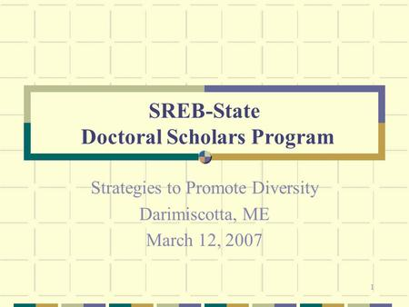 1 SREB-State Doctoral Scholars Program Strategies to Promote Diversity Darimiscotta, ME March 12, 2007.