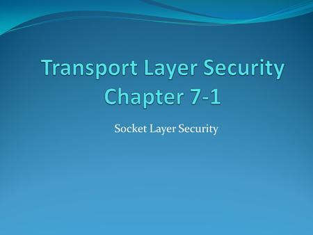 Socket Layer Security. In this Presentation: need for web security SSL/TLS transport layer security protocols HTTPS secure shell (SSH)