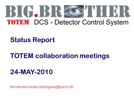 Status Report TOTEM collaboration meetings 24-MAY-2010