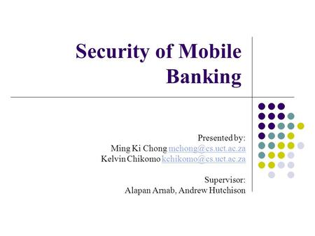 Security of Mobile Banking