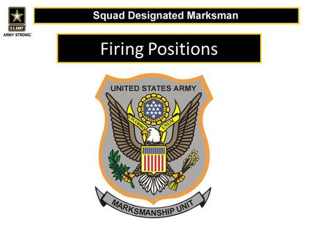 Firing Positions. The purpose of any good shooting position is to support the two basic principles of marksmanship Sight Alignment Trigger Control.