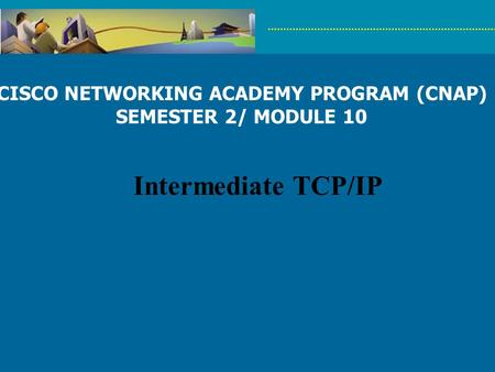 CISCO NETWORKING ACADEMY PROGRAM (CNAP) SEMESTER 2/ MODULE 10 Intermediate TCP/IP.