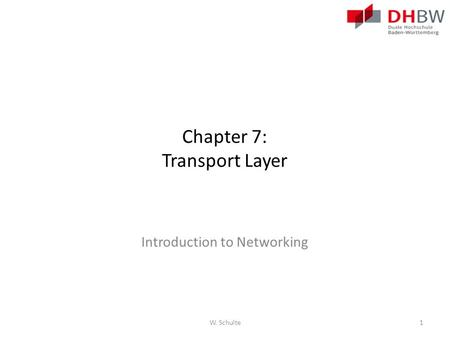 Chapter 7: Transport Layer Introduction to Networking W. Schulte1.