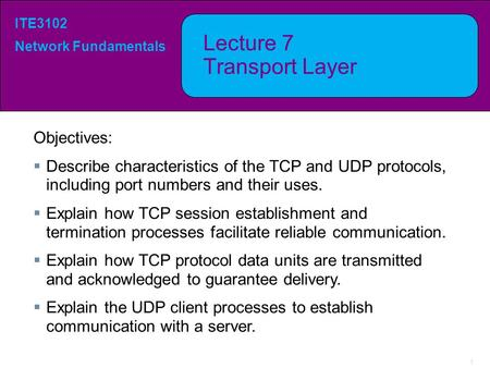 Lecture 7 Transport Layer