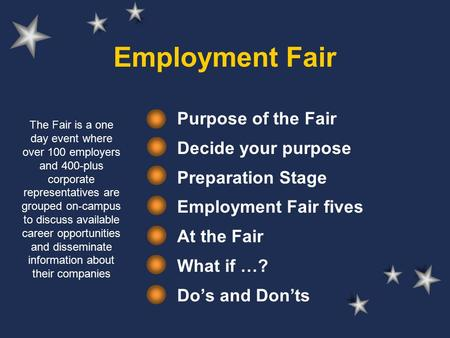 Employment Fair Purpose of the Fair Decide your purpose Preparation Stage Employment Fair fives At the Fair What if …? Do's and Don'ts The Fair is a one.