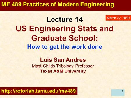 11 Lecture 14 US Engineering Stats and Graduate School: How to get the work done March 22, 2010 Luis San Andres Mast-Childs Tribology Professor Texas A&M.