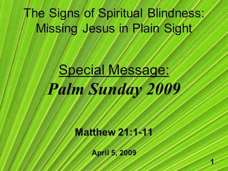 1 The Signs of Spiritual Blindness: Missing Jesus in Plain Sight Special Message: Palm Sunday 2009 Matthew 21:1-11 April 5, 2009.