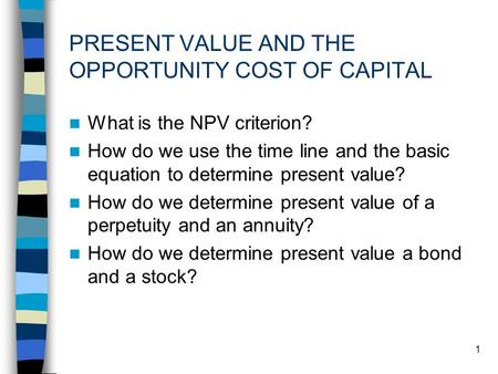 1 PRESENT VALUE AND THE OPPORTUNITY COST OF CAPITAL What is the NPV criterion? How do we use the time line and the basic equation to determine present.