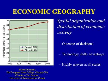 ECONOMIC GEOGRAPHY Spatial organization and distribution of economic activity –Outcome of decisions –Technology shifts advantages –Highly uneven at all.