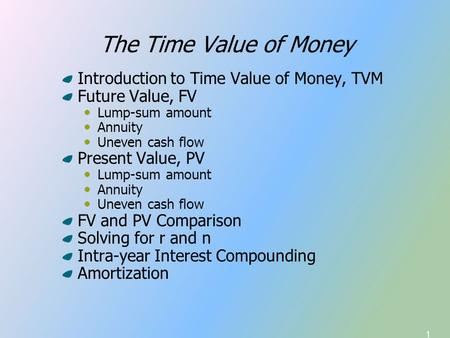 1 The Time Value of Money Introduction to Time Value of Money, TVM Future Value, FV Lump-sum amount Annuity Uneven cash flow Present Value, PV Lump-sum.