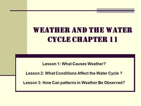 Weather and the Water Cycle Chapter 11 Lesson 1: What Causes Weather? Lesson 2: What Conditions Affect the Water Cycle ? Lesson 3: How Can patterns in.