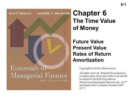 6-1 Copyright (C) 2000 by Harcourt, Inc. All rights reserved. Chapter 6 The Time Value of Money Future Value Present Value Rates of Return Amortization.