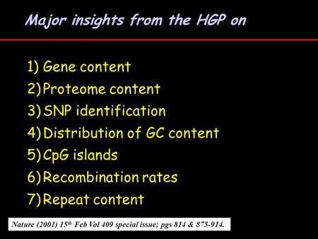 Major insights from the HGP on Nature (2001) 15 th Feb Vol 409 special issue; pgs 814 & 875-914. 1)Gene content 2)Proteome content 3)SNP identification.