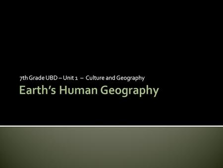 Earth's Human Geography