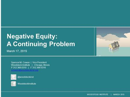 WOODSTOCK INSTITUTE | MARCH 2015 March 17, 2015 Negative Equity: A Continuing Problem Spencer M. Cowan | Vice President Woodstock Institute | Chicago,