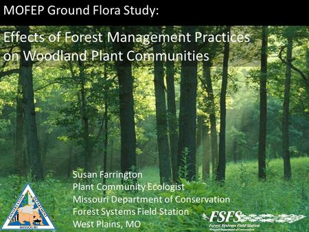 MOFEP Ground Flora Study: Effects of Forest Management Practices on Woodland Plant Communities Susan Farrington Plant Community Ecologist Missouri Department.