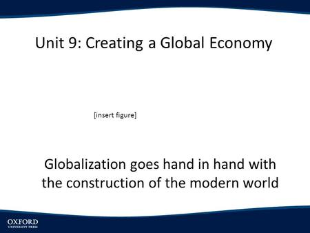Unit 9: Creating a Global Economy Globalization goes hand in hand with the construction of the modern world [insert figure]