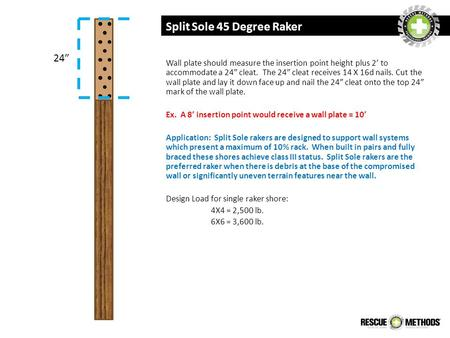 Split Sole 45 Degree Raker