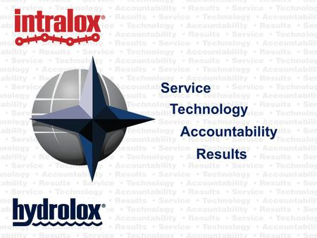 Service Technology Accountability Results. Intralox & Hydrolox What We Do Water Screens Automotive Baking Beverage Container Corrugated Fruit and vegetable.