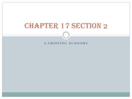 CHAPTER 17 SECTION 2 A Growing Economy.