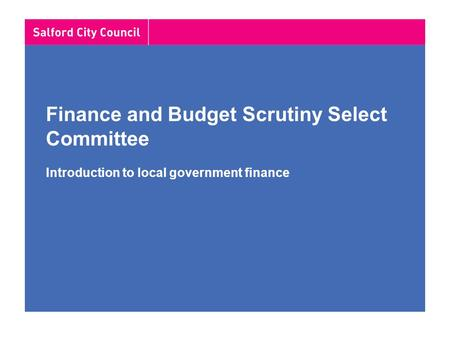 Finance and Budget Scrutiny Select Committee Introduction to local government finance.