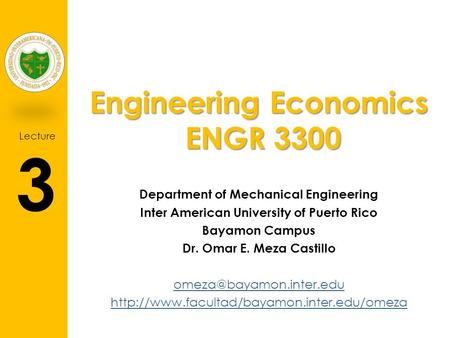 Engineering Economics ENGR 3300