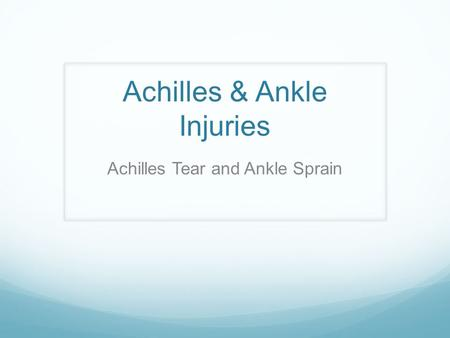 Achilles & Ankle Injuries Achilles Tear and Ankle Sprain.