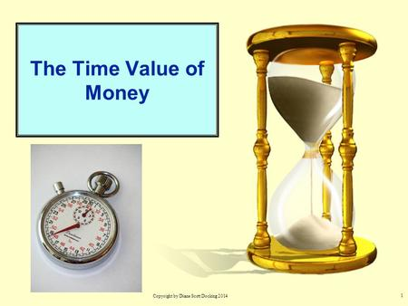 1 The Time Value of Money Copyright by Diane Scott Docking 2014.