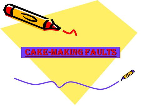 CAKE-Making FAULTS. Close texture Too much liquid Insufficient raising agent Treacle or syrup Eggs and sugar not beaten enough Too little creaming of.