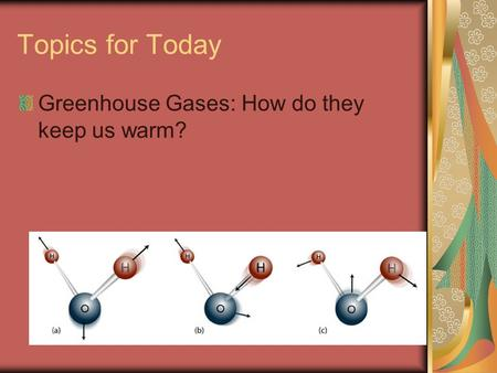 Topics for Today Greenhouse Gases: How do they keep us warm?