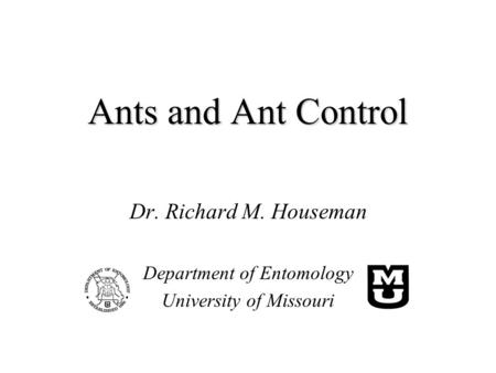 Ants and Ant Control Dr. Richard M. Houseman Department of Entomology University of Missouri.