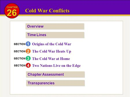 Cold War Conflicts 26 CHAPTER Overview Time Lines Transparencies Chapter Assessment Origins of the Cold War The Cold War Heats Up The Cold War at Home.